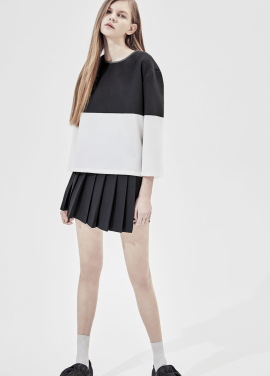 [단독20%] Half Colorblock Button Point Blouse