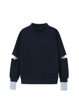 Sleeve Shirts Layered Half Neck Sweatshirts [임세미 착용]
