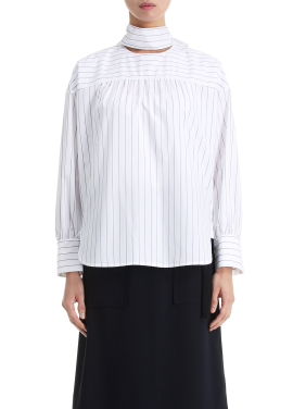 [단독20%] Pin Stripe Neckline Ribbon Blouse