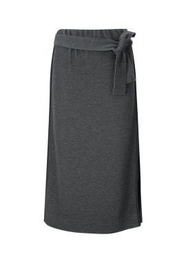Waist Ribbon Detailed H-Line Knit Skirt