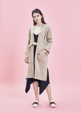 ★ Robe Style Belted Long Cardigan