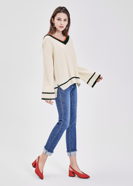 ★Loose Fit Colorblock Pullover