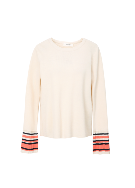 ★ Sleeve Colorblock Pleats Cuffs Pullover