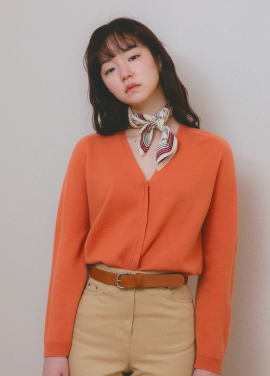 [URAGO]3/10 예약발송(orange) soft wool v neck cardigan