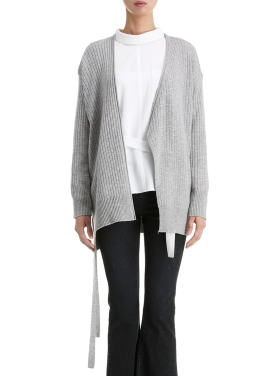 [단독40%] Ribbed Side Lace Up Cardigan