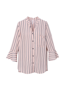 Pin Stripe Frill Sleeve Blouse
