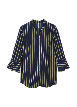 Pin Stripe Frill Sleeve Blouse
