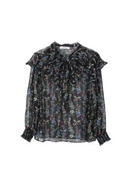 ★[주문폭주/순차배송중] Chiffon Flower Pattern Ribbon Tie Blouse