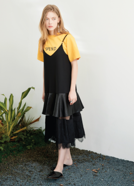 [S/S 30%할인]lace layered onepiece Black