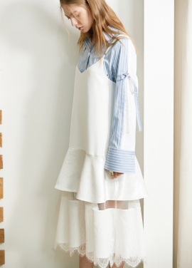 [S/S 30%할인] lace layered onepiece White