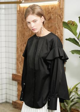 [S/S 30%할인] Round neck shirt Black