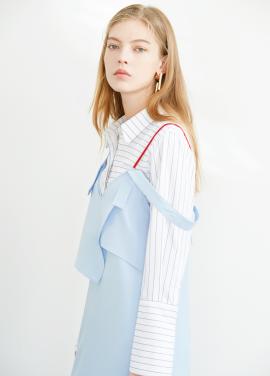 [S/S 30%할인] stripe crop shirt white