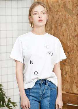 [아이유착용] spelling T-shirt White