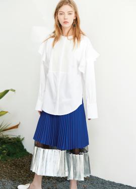 shine pleats skirt Blue