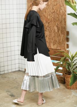 shine pleats skirt White