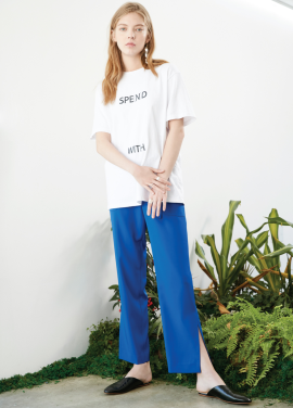 [S/S 30%할인/박세영 착용] belted slit pants Blue