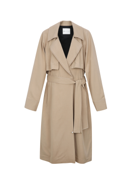 Rayon Side Slit Long Trench Coat