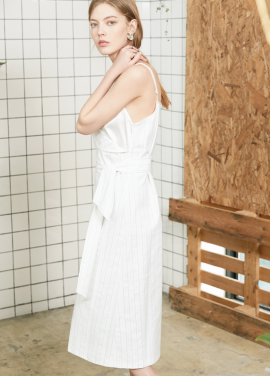 [S/S 30%할인]slip stripe one-piece White