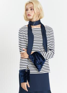 [SALON DE YOHN] Velvet Cuffs Stripe T_Navy