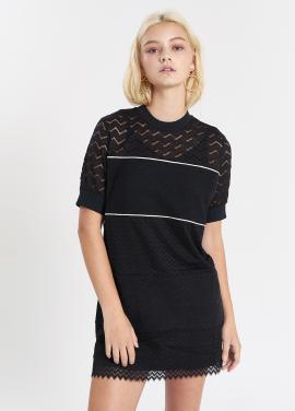 [SALON DE YOHN/20%] Lace Stripe Dress_Black