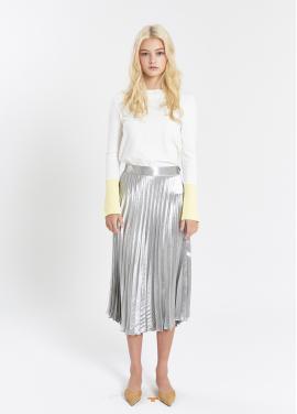[SALON DE YOHN /20%]  Glossy Pleats Skirt_Silver
