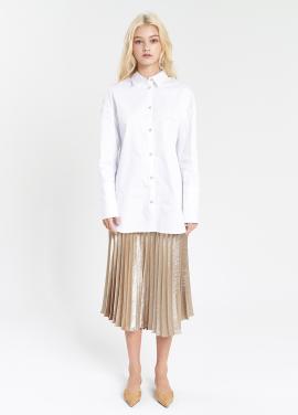 [SALON DE YOHN /20%]  Glossy Pleats Skirt_Gold