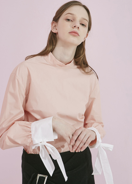 [ADDSENSE] ROUND COLOR HIGH BLOUSE_PINK