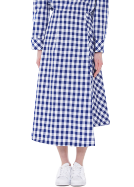 [소량 재입고'임수정 착용'/40%] unbalanced gingham skirts - blue