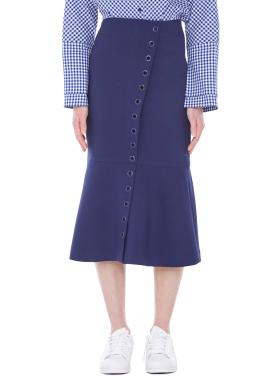 [MILLOGLEM/40%]eyelet trumpet skirt - blue