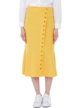 [MILLOGLEM]eyelet trumpet skirt - yellow