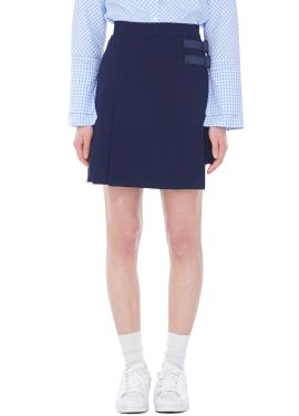 [MILLOGLEM 여자친구 소원착용/40%]double belt miniskirt - navy