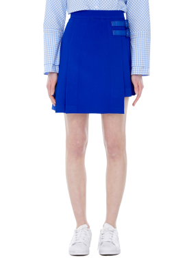 [MILLOGLEM/40%]double belt miniskirt - blue