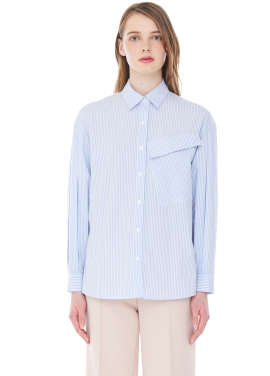 [MILLOGLEM]three tuck stripe shirts - light blue
