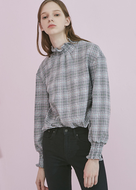 [ADDSENSE/50%SALE]CHECK SMOKE BLOUSE_GREEN