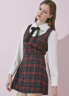 [ADDSENSE/김세정 착용]CREAM CHECK DRESS_RED