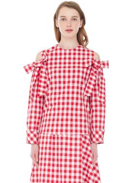 [MILLOGLEM/ 전소미착용]off shoulder gingham blouse - red