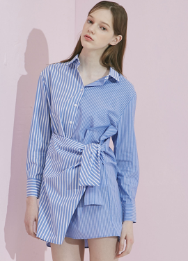 [ADDSENSE/50%SALE]HALF STRIPE LAP SHIRT_BLUE