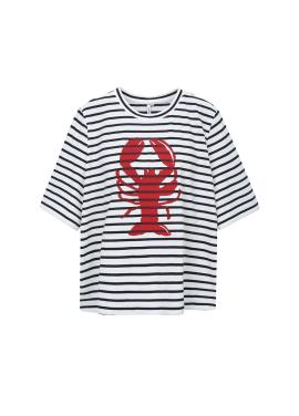 Marine Stripe Print T-shirts