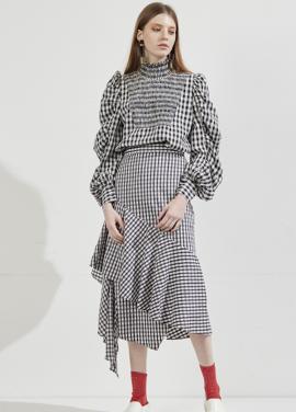 [WORKWEAR/홍수아 착용] ww ruffled check skirt