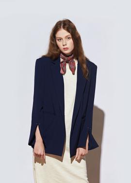 [URAGO]piercing slit jacket_Navy