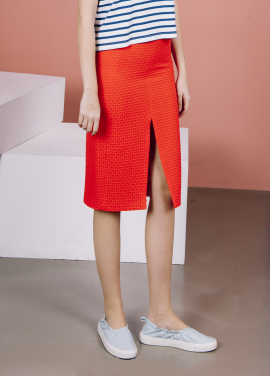[THE SUIN 봄신상 20%]FRONT SLIT PENCIL SKIRT ( ORANG RED )