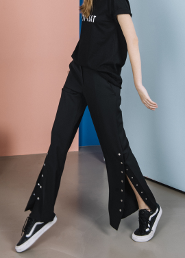 [THE SUIN 봄신상 20%]SNAP-BUTTON POINT PANTS ( BLACK )