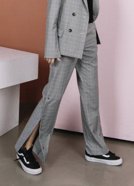[THE SUIN 봄신상 20%]SNAP-BUTTON POINT PANTS ( GREY CHECK )