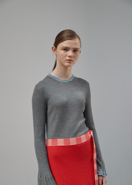 [MOONHEE/고객감사30%SALE] Sleeve Wide Cuffs Rib Top [GREY]