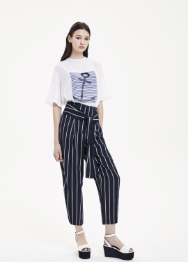 Ribbon Belt Wide Pants