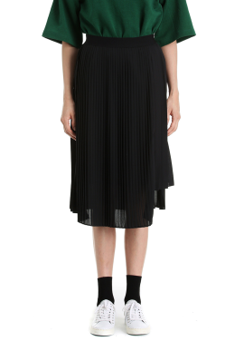 Chiffon Unbalance Pleats Skirt