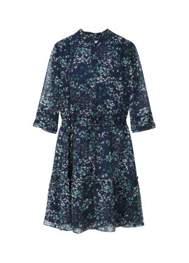 ◆ Short Sleeve Flower Patterned Chiffon Dress