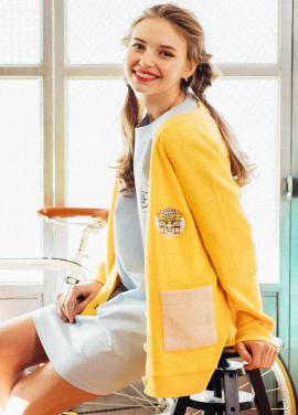 [CITLUS] Color Block Pocket & Wappen Cardigan_YELLOW
