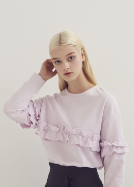[ADDSENSE/50%SALE] SEAT FRILL SWEATSHIRT_PURPLE