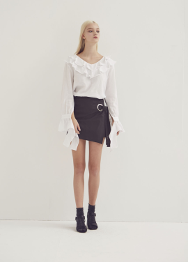 [ADDSENSE/50%SALE] LAPPING EYELET SKIRT_BLACK